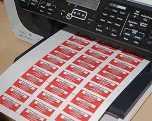 Impertinent image inside printable tamper proof labels