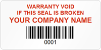 Tamper Labels, Warranty Void Company Name with Bardcode