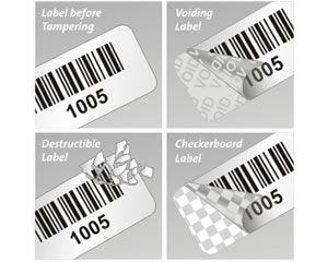 Playful image inside printable tamper proof labels